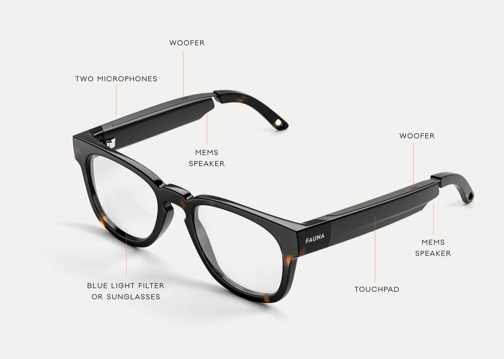Fauna audio glasses with speakers, touchpad, microphones.