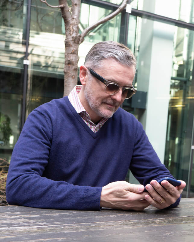Ferruccio Bottoni, CEO at Fauna, wearing Audio Glasses.