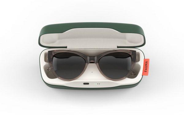 Fauna Fabula Crystal Brown music sunglasses in charging case