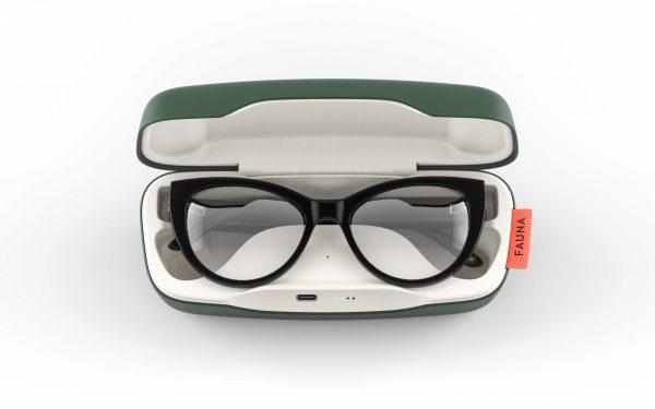 Fauna Levia Black audio glasses in charging case