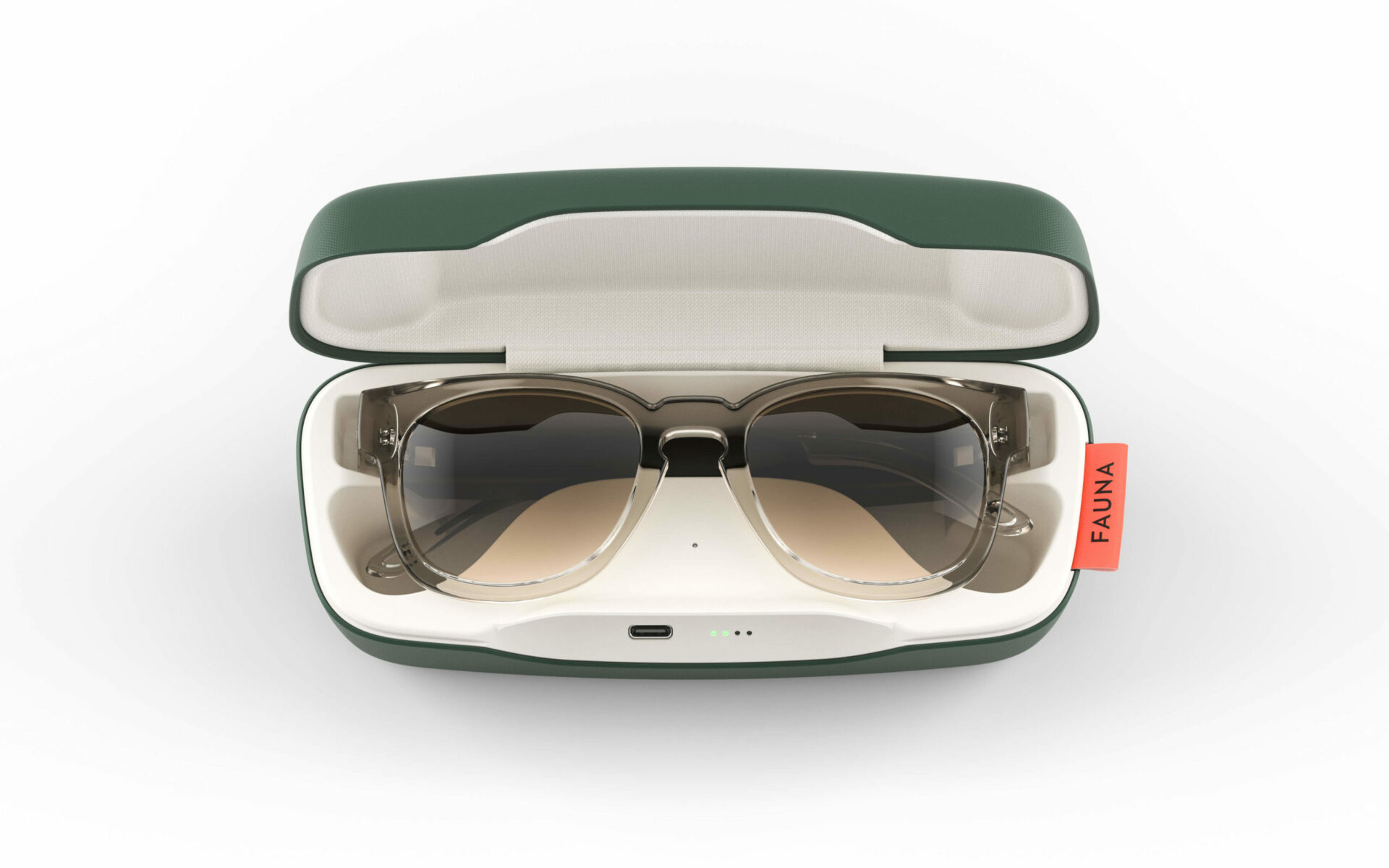 Fauna Spiro Transparent Brown music sunglasses in charging case